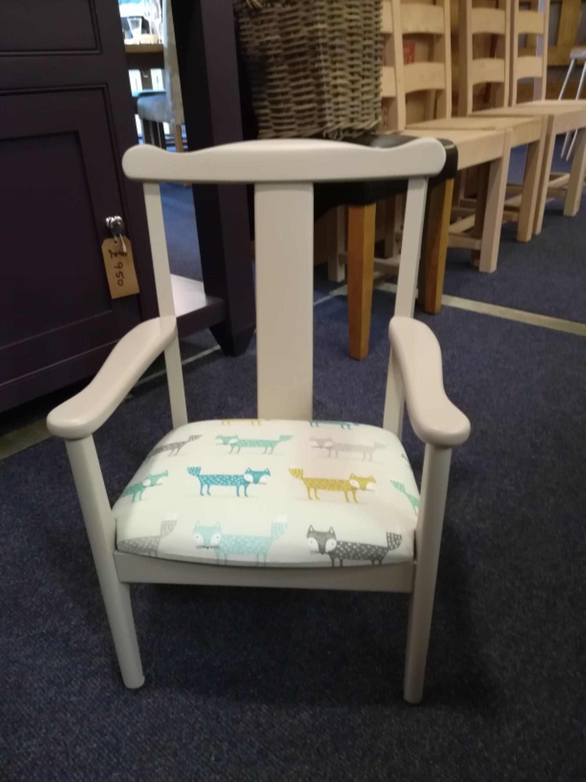 Childs chair after respray by Rural Interiors in Denby Dale, Huddersfield